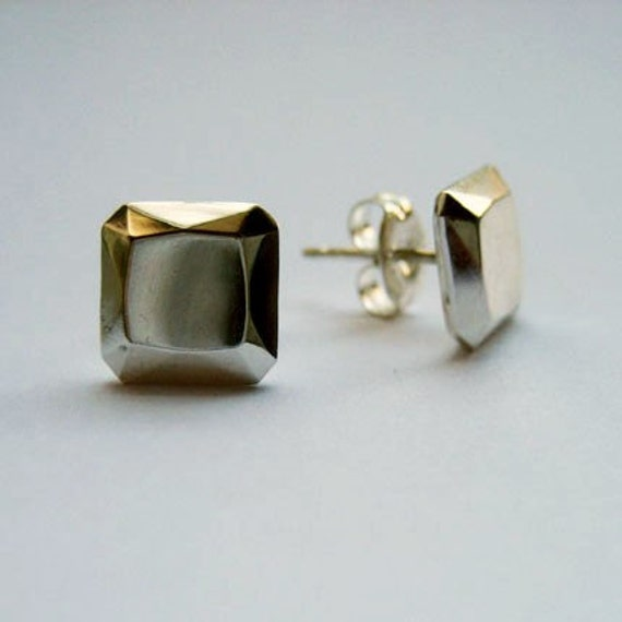 READY TO SHIP, Square diamond like faceted sterling metal stud earrings, artisan metalsmith, Square brilliants