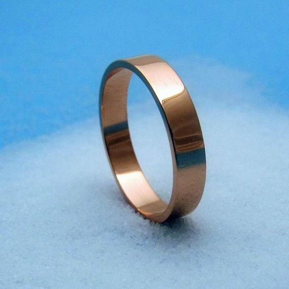 14k rose gold wedding band - 4mm flat band - pink gold wedding ring, unisex wedding ring, modern, eco friendly gold - custom - made to order