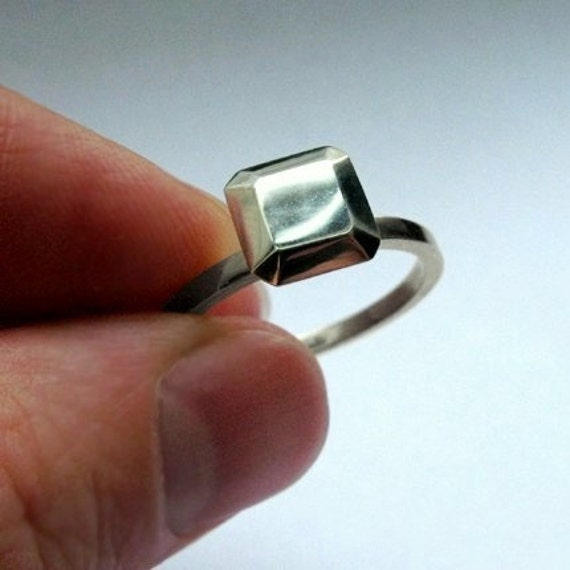 Modern engagement ring alternative, diamond like, Ascher cut square,Modern rock, recycled sterling silver, size 9