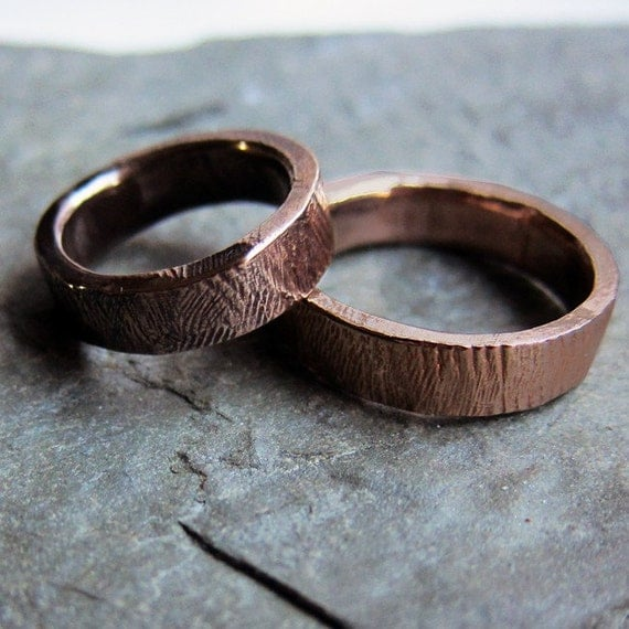 Special Listing For B Bronze Bark Wedding Ring Set 5mm 3mm