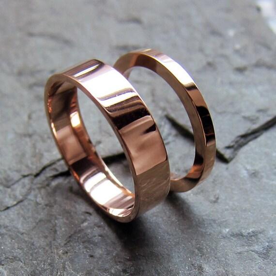 Rose gold wedding ring set 14k recycled rose gold wedding