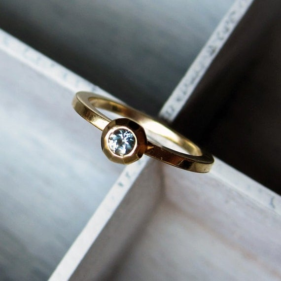 Reserved fr K: 14k gold aquamarine engagement ring - recycled yellow gold -modern solitaire ring - march birthstone - size 7.25