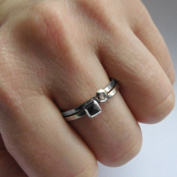 Mini diamond stack rings - faceted metal gem - recycled sterling silver - stack rings - mini Modern Rock set, size 7