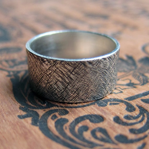 Rustic silver textured band, wide ring, 10mm, bold wide band, rustic wedding ring, made to order