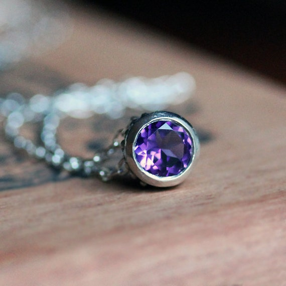Amethyst necklace, February birthstone necklace , bezel necklace, recycled sterling silver, purple stone necklace, ready to ship, Wrought