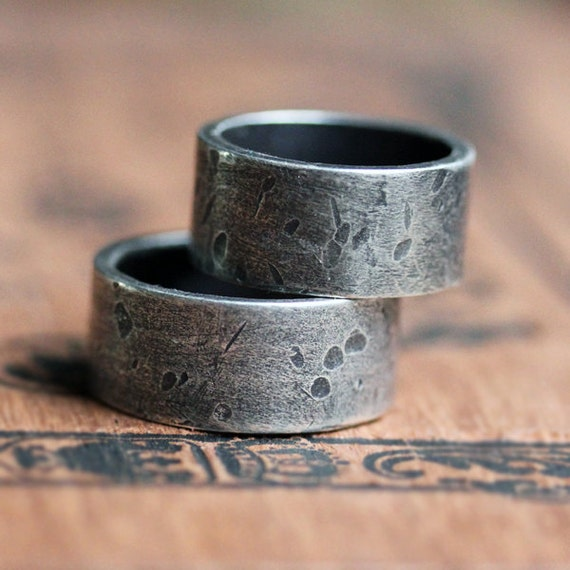 Wide rustic rock textured wedding bands, silver wedding band set, 10mm, sterling wedding ring set, oxidized silver his and his bands, custom