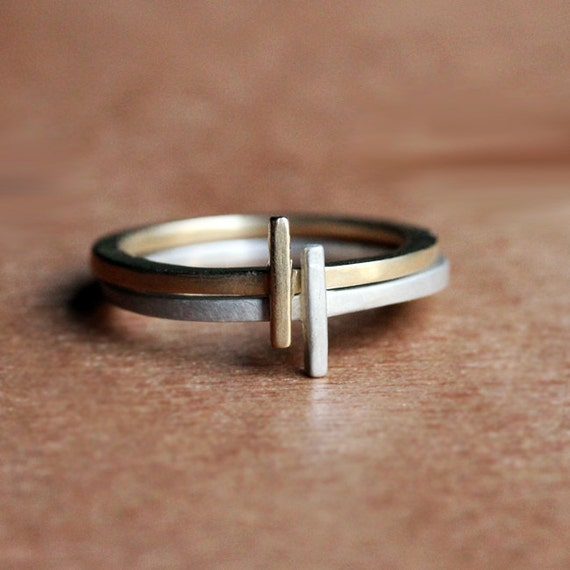 Modern stack rings - geometric rings - 14k gold and recycled sterling silver - recycled - eco friendly - metropolis - made to order
