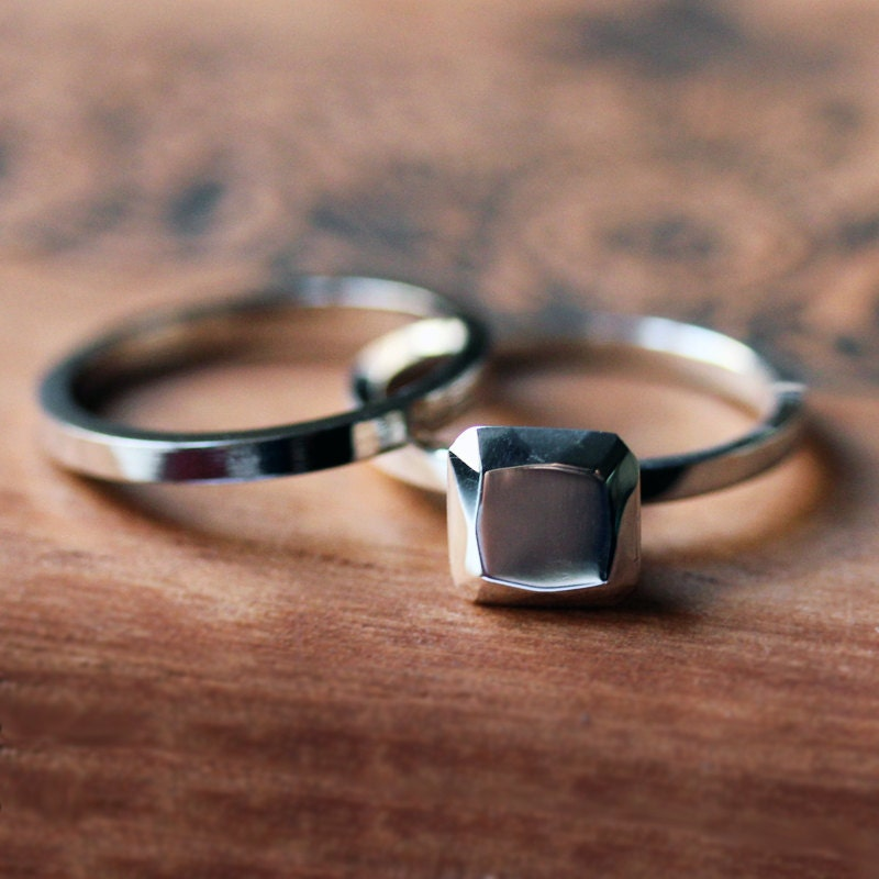 Modern Engagement Ring Set Bridal Ring Set Non Diamond