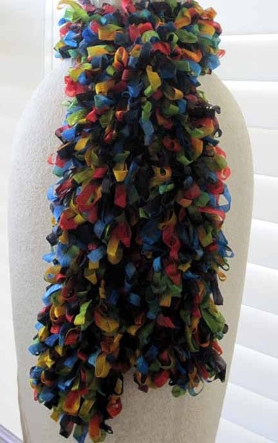 Multi Colored Scarf Knitting Pattern : LOOPY RIBBON Multi Colored Knit Scarf