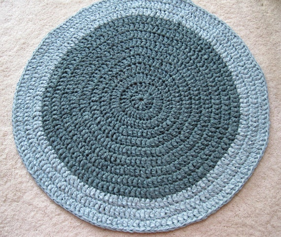 Crocheted Cotton Recycled  Round Aqua Rug