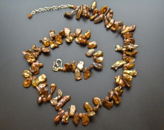 Cappuccino handmade keshi pearl and sunstone necklace