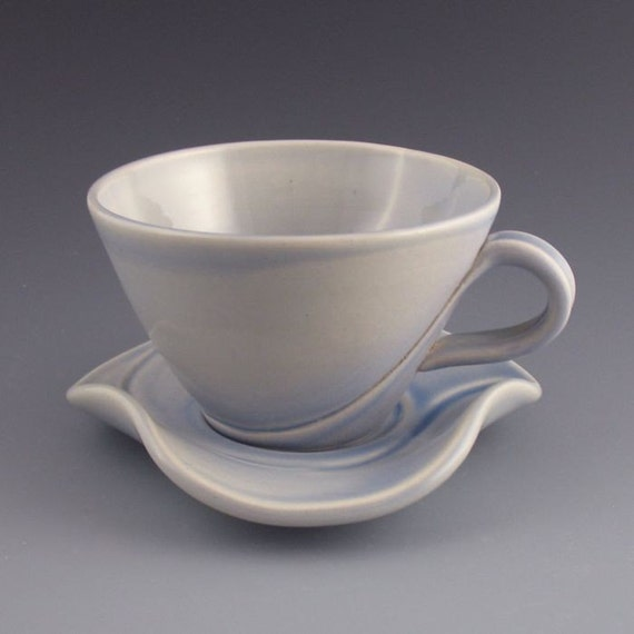 Soft Periwinkle Blue Porcelain Cup and Saucer \/ Curvature Series