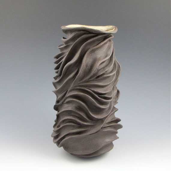 Organic Carved Sculptural Ceramic Pottery Vase: Chocolate Brown Stoneware