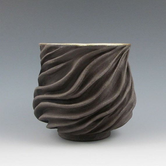 Carved modern sculptural ceramic pottery tea bowl chocolate