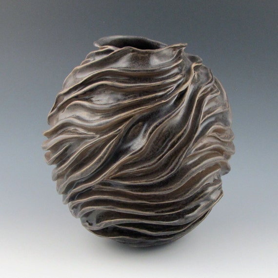 Carved modern sculptural ceramic pottery vessel semi matte