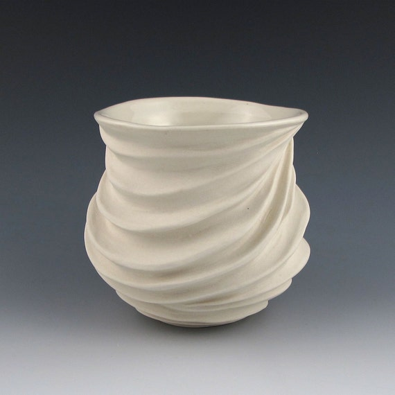 Modern Sculptural Ceramic Tea Bowl Creamy  White Porcelain 2
