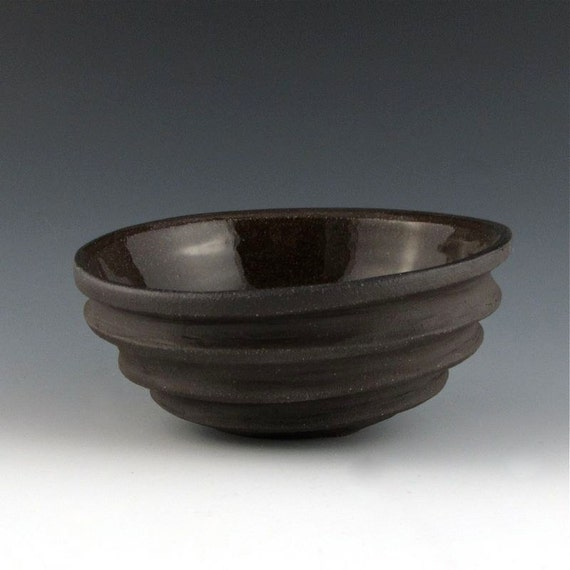 Carved Modern Sculptural Ceramic Pottery Bowl: Chocolate Brown
