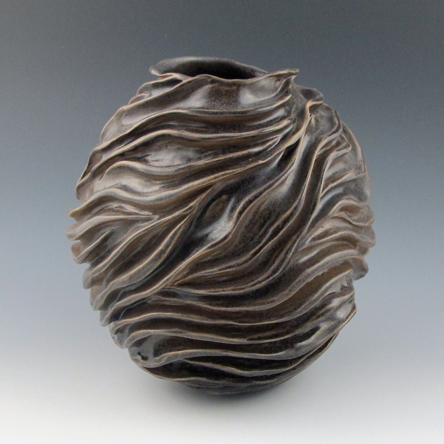 Reserved for lise carved modern sculptural ceramic pottery