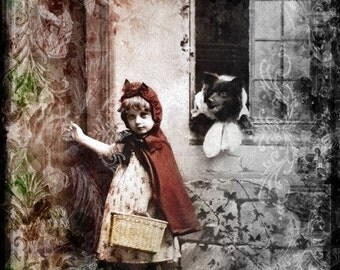 Little Red Ridinghood and Wolf Gothic art print FAIRY TALE