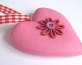 Pink wooden heart ornament with flower