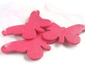 Fuschia pink sparkle decorations butterfly wedding party decor favors wooden set of 3