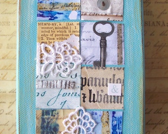Original art mixed media collage canvas Patchwork of Memories