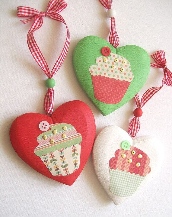 Cupcake hanging wooden heart ornaments - mixed media  - set of 3