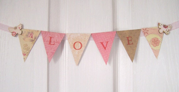 Valentine decor paper garland bunting love pink