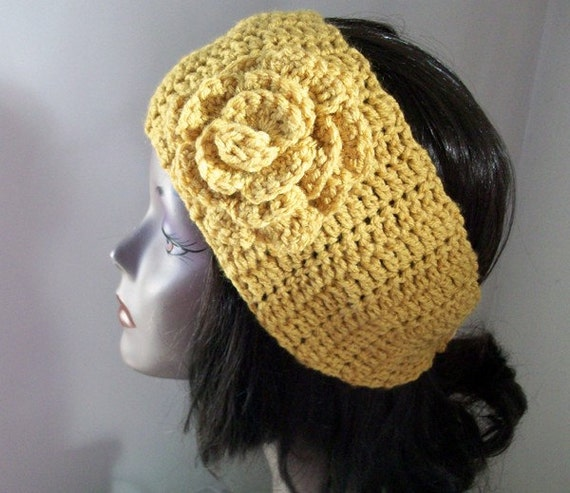 Crochet Flower Ear Warmer Tutorial : Crochet Ear Warmer Flower Headband Head Wrap by ...