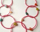 Seed Bead Gemstone Necklace. Pink Seed Bead & Multi Gemstone Circles.