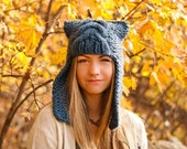 Womens Chunky Knit Cable Beanie Denim Blue Ear Flap Hat  - Dragon Slayer - Womens Accessories Fall Fashion Winter Hat