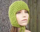 Crochet Hat Womens Hat - Green Ear Flap Beanie in Green Apple Crochet Hat Green Hat Green Beanie Womens Accessories - READY TO SHIP