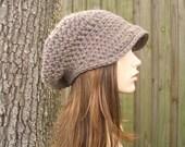 Crochet Hat Womens Hat Taupe Newsboy Hat Brown Newsboy Hat - Brown Hat Taupe Hat Womens Accessories