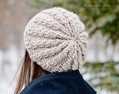Knit Hat Womens Hat Slouchy Hat - Rasta Thumb Cable Beret Hat Cream Linen Knit Hat - Cream Hat Cream Beret Cream Beanie Womens Accessories