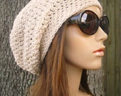 Crochet Hat Womens Hat Slouchy Beanie - Weekender Slouchy Hat in Cream Crochet Hat - Cream Hat Gream Beanie Womens Accessories Winter Hat