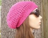 Pink Womens Hat Slouchy Beanie - Weekender Slouchy Hat Hot Pink Cotton Crochet Hat - Pink Hat Pink Beanie Womens Accessories Winter Hat