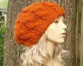 Knit Hat Orange Womens Hat - Orange Cable Beret Hat Pumpkin Orange Knit Hat - Orange Hat Orange Beret Orange Beanie Womens Accessories