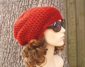 Red Womens Crochet Hat Slouchy Beanie - Weekender Slouchy Hat Cranberry Red Crochet Hat - Red Hat Red Beanie Womens Accessories Winter Hat