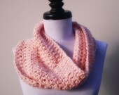 10% Off - Hand Crocheted Cowl Scarf - The Hamptons Cowl Scarf in Pale Pink Alpaca - READY TO SHIP Winter Fashion
