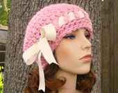 Crochet Hat Pink Womens Hat - Escargot Beret in Pink Crochet Hat - Pink Hat Pink Beret Pink Beanie Womens Accessories - READY TO SHIP