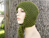 Knit Hat Green Womens Hat - Garter Ear Flap Hat in Olive Green Knit Hat - Green Hat Green Ear Flap Hat Womens Accessories Winter Hat