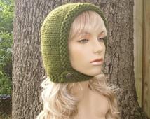 Knit Hat Womens Hat - Pixie In Training Aviator Cap in Olive Green Knit Hat - Green Hat Green Hood Womens Accessories Winter Hat
