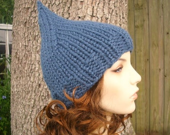 Blue Womens Hat - Blue Gnome Hat Denim Blue Knit Hat - Blue Hat Blue Beanie Womens Accessories Fall Fashion Winter Hat