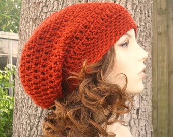 Crochet Hat Womens Hat Slouchy Beanie - Weekender Slouchy Hat in Brick Red Crochet Hat - Red Hat Red Beanie Womens Accessories Winter Hat