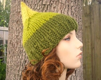 Knit Hat Womens Hat - Gnome Hat in Yellow and Green Knit Hat - Womens Accessories Winter Hat