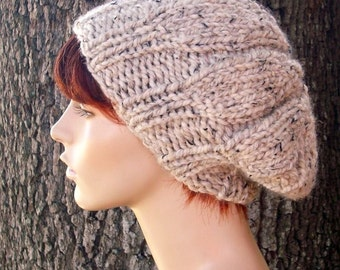 Oatmeal Knit Hat Oatmeal Womens Hat - Urchin Beret Hat Oatmeal Beret - Oatmeal Womens Beret Oatmeal Beanie Womens Accessories