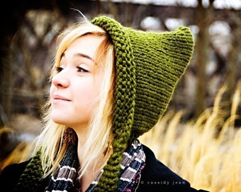 Green Womens Hat, Olive Green Pixie Hat, Olive Green Thick Knit Hat, Green Hat, Green Winter Hat, Chunky Hat, Fall Fashion
