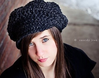 Grey Crochet Hat Women Charcoal Grey Newsboy Hat - Charcoal Grey Hat Charcoal Grey Beanie - 34 Color Choices