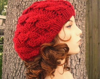 Knit Hat Red Womens Hat - Red Cable Beret Hat in Cranberry Red Knit Hat - Red Hat Red Beret Red Beanie Womens Accessories