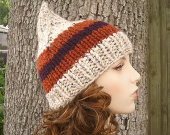 Knit Hat Womens Hat - Gnome Hat in Okemo Oatmeal Rust Knit Hat - Oatmeal Hat Oatmeal Beanie Womens Accessories Winter Hat